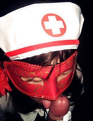 Masked Asian GF in naughty nurse unifrom
